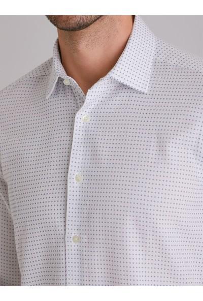 Dufy Beyaz Çiçek Desen Pamuk Erkek Gömlek - Slim Fit