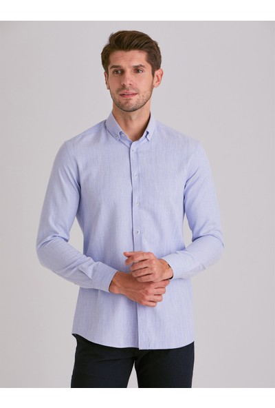Dufy Mavi Düz Erkek Gömlek - Slim Fit
