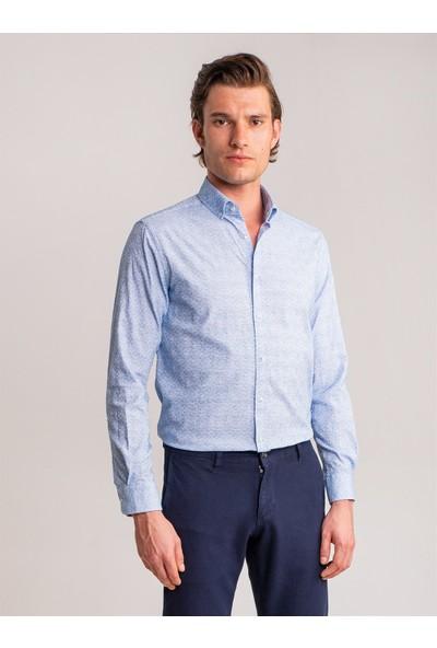 Dufy Mavi Baklava Desen Pamuk Likra Karişimli Erkek Gömlek - Slim Fit