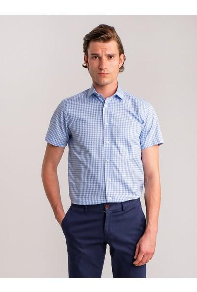 Dufy Mavi Kareli Pamuklu Kisa Kol Erkek Gömlek - Regular Fit