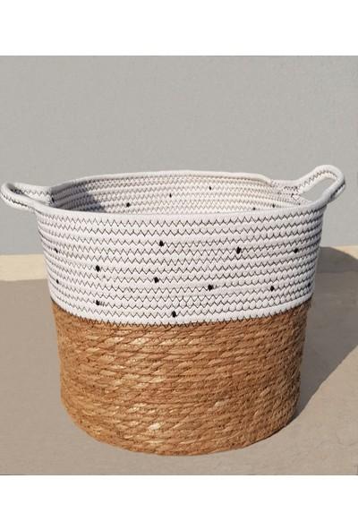 Linanca 3 Lü Hasır Sepet, Saksı Sepeti, Dekoratif Sepet Siyah-Beyaz