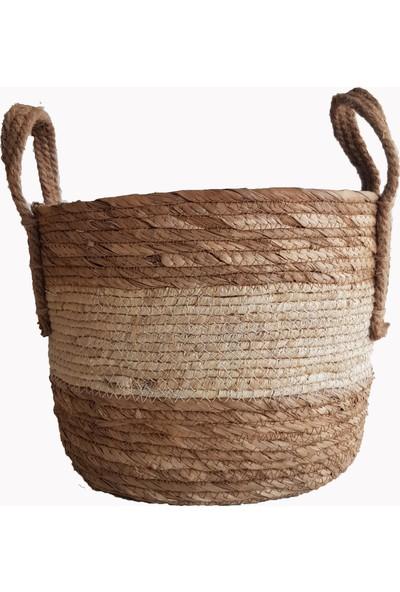 Linanca 3 Lü Hasır Sepet, Saksı Sepeti, Dekoratif Sepet Naturel