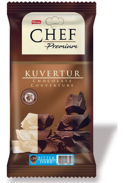 Elvan Chef %59 Kakaolu Mini Bitter Kuvertür 200 gr