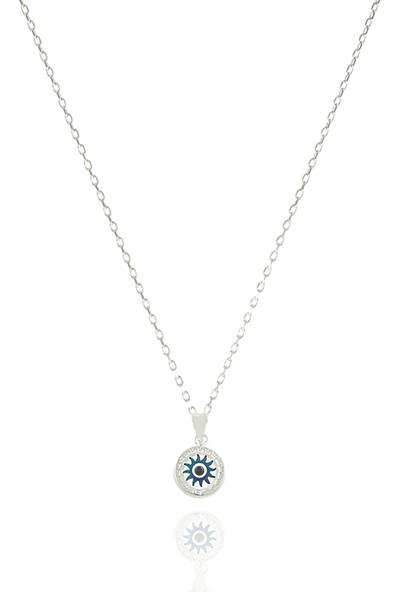 Takı Mağaza 925 Ayar Gümüş Nazar Boncuklu 12 mm Güneş Kolye