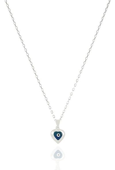 Takı Mağaza 925 Ayar Gümüş Nazar Boncuklu 10 mm Kalp Kolye