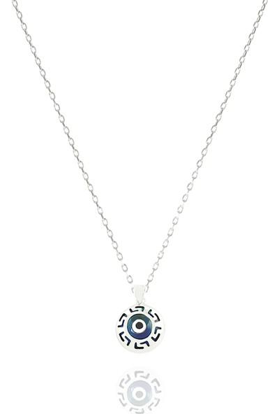 Takı Mağaza 925 Ayar Gümüş Nazar Boncuklu 15 mm Yuvarlak Kolye