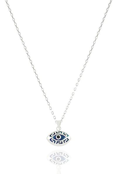 Takı Mağaza 925 Ayar Gümüş Nazar Boncuklu 15 mm Badem Kolye