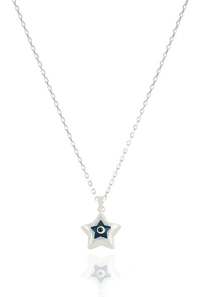 Takı Mağaza 925 Ayar Gümüş Nazar Boncuklu 15 mm Yıldız Kolye