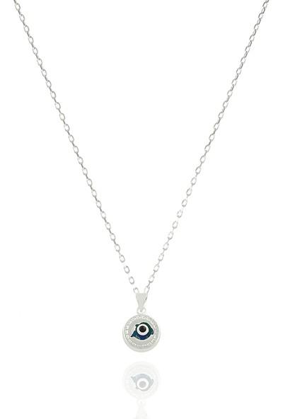 Takı Mağaza 925 Ayar Gümüş Nazar Boncuklu 12 mm Yunus Kolye