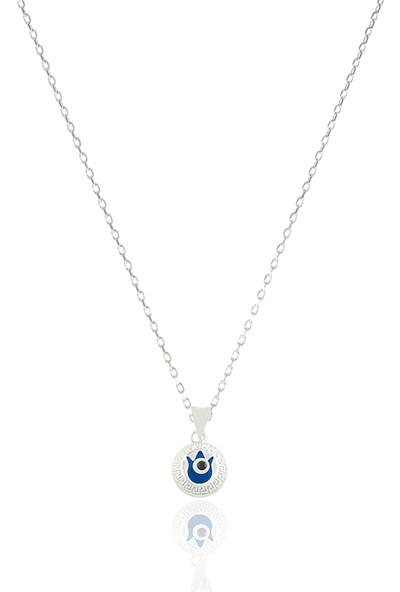Takı Mağaza 925 Ayar Gümüş Nazar Boncuklu 12 mm Motifli Lale Kolye