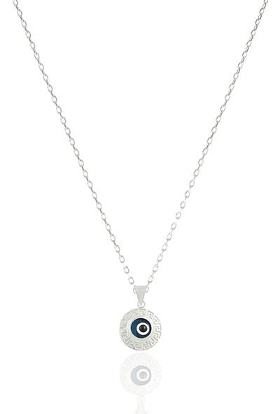 Takı Mağaza 925 Ayar Gümüş Nazar Boncuklu 15 mm Motifli Yuvarlak Kolye