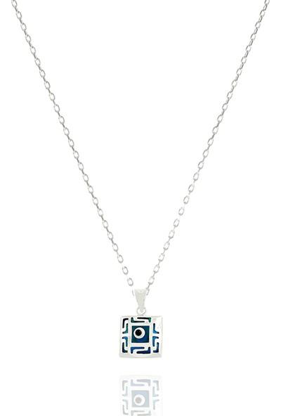 Takı Mağaza 925 Ayar Gümüş Nazar Boncuklu 15 mm Kare Kolye