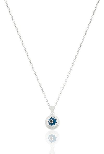 Takı Mağaza 925 Ayar Gümüş Nazar Boncuklu 12 mm Motifli Yıldız Kolye