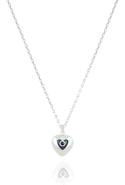 Takı Mağaza 925 Ayar Gümüş Nazar Boncuklu 15 mm Kalp Kolye