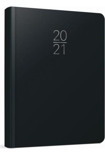 Gıpta 2021 Cilt Bezli Kareli Günlük Ajanda 14 x 20 cm 102-ECK Siyah