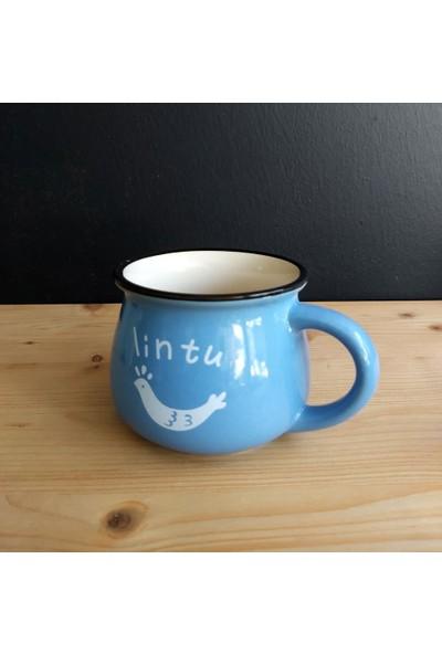 Evim Tatlı Evim Emaye Görünümlü Porselen Kupa Mavi