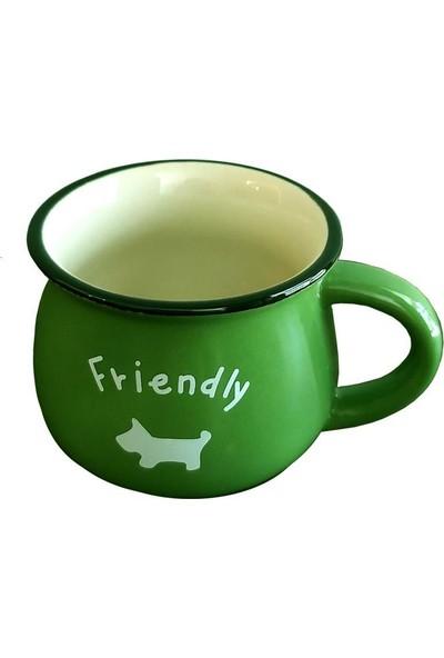 Evim Tatlı Evim Emaye Görünümlü Porselen Kupa Yeşil
