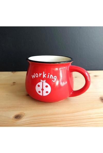 Evim Tatlı Evim Emaye Görünümlü Porselen Kupa Kırmızı