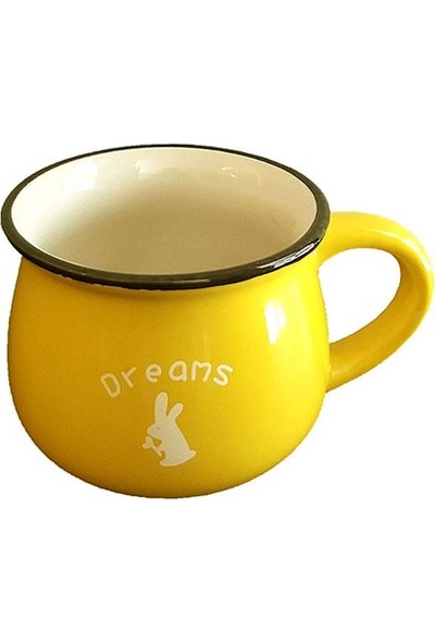 Evim Tatlı Evim Emaye Görünümlü Porselen Kupa Ikili Set Sarı ve Kahverengi