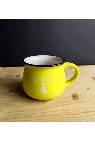 Evim Tatlı Evim Emaye Görünümlü Porselen Kupa Sarı