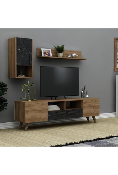 Hepsi Home Momo Tv Ünitesi- Ceviz Siyah Mermer