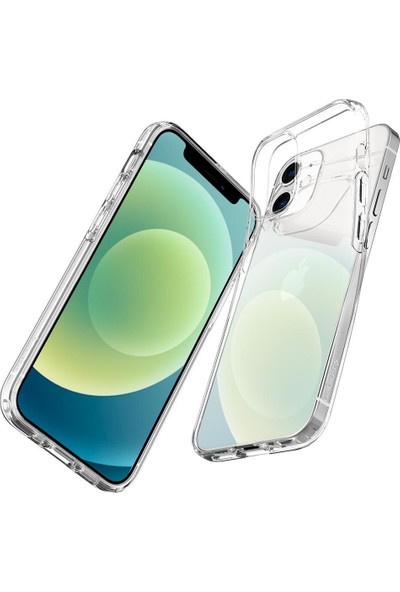 Spigen Apple iPhone 12 Mini Kılıf Liquid Crystal 4 Tarafı Tam Koruma Crystal Clear - ACS01740