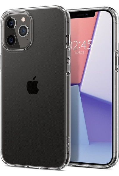 Spigen Apple iPhone 12 Pro Max Kılıf Liquid Crystal 4 Tarafı Tam Koruma Crystal Clear - ACS01613