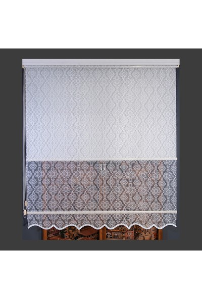 Anıper Çift Mekanizmalı Kırık Beyaz Ottoman Desenli Tül Stor Perde 80 x 200 cm