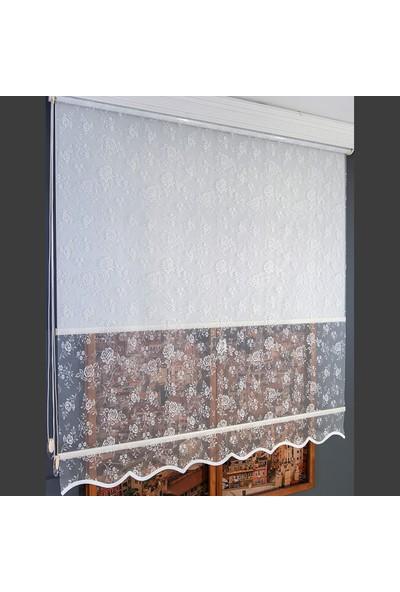 Anıper Çift Mekanizmalı Kırık Beyaz Flower Desenli Tül Stor Perde 70 x 200 cm