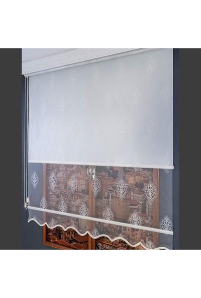 Anıper Çift Mekanizmalı Kırık Beyaz Armür Desenli Tül Stor Perde 70 x 200 cm