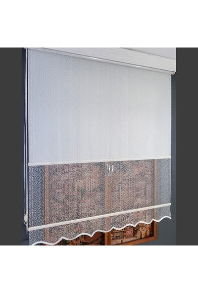 Anıper Çift Mekanizmalı Kırık Beyaz Fiyonk Desenli Tül Stor Perde 70 x 200 cm
