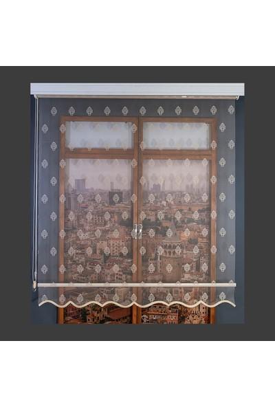 Anıper Çift Mekanizmalı Kahve Little Damask Desenli Tül Stor Perde 70 x 200 cm
