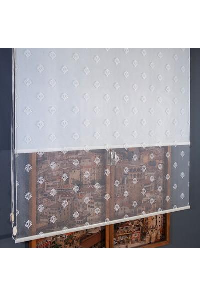 Anıper Çift Mekanizmalı Kırık Beyaz Damask Desenli Tül Stor Perde 70 x 200 cm