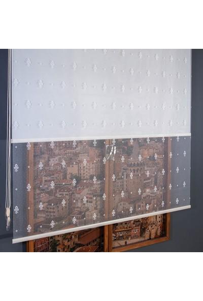 Anıper Çift Mekanizmalı Kırık Beyaz Zerafet Desenli Tül Stor Perde 70 x 200 cm
