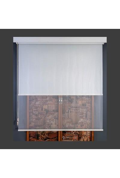 Anıper Çift Mekanizmalı Kırık Beyaz Kafes Desenli Tül Stor Perde 70 x 200 cm