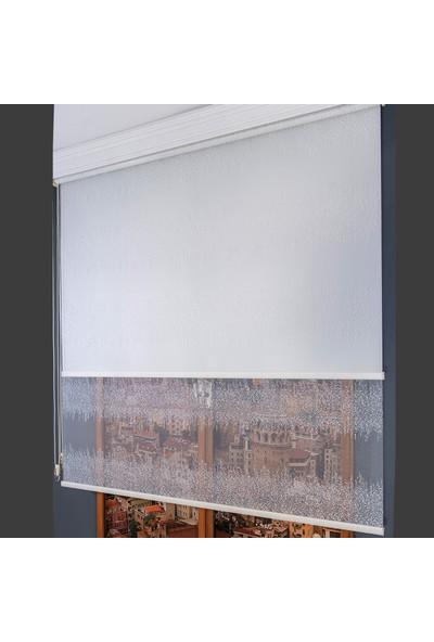 Anıper Çift Mekanizmalı Kırık Beyaz Sıra Desenli Tül Stor Perde 70 x 200 cm