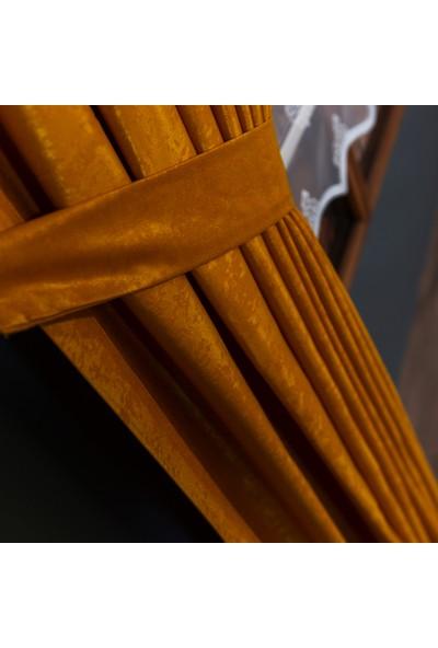Anıper Hardal Rengi Kullanıma Hazır Fon Perde 1 Takım 2 Adet 1'e 2 Pile Sıklığı 60 x 190 cm