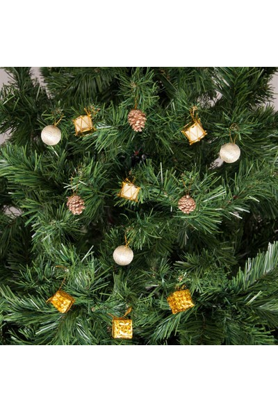 KbkMarket Yılbaşı Çam Ağacı Altın Toplu Süs Seti 12'li