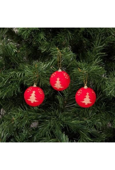 KbkMarket Yılbaşı Çam Ağacı Süsü Kar Taneli Kırmızı Top 6 cm 6'lı KB2040