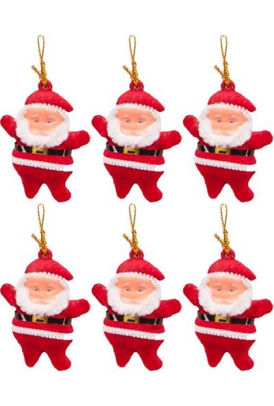 KbkMarket Yılbaşı Çam Ağacı Süsü Simli Noel Baba 6'lı 5 cm
