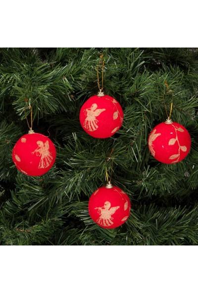 KbkMarket Yılbaşı Çam Ağacı Süsü Kırmızı Desenli 7 cm 4'lü KB2040