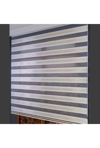 Anıper Zebra Perde Beyaz Kahve Kalın Hasır Bamboo 70 x 200 cm