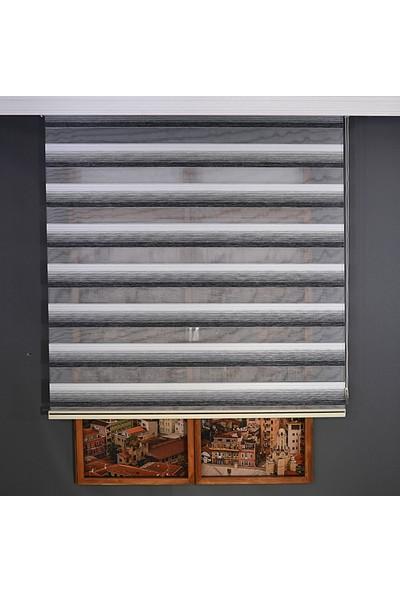 Anıper Zebra Perde Siyah Beyaz Kalın Bamboo Plise 70 x 200 cm