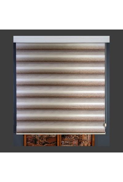 Anıper Zebra Perde Krem Kahverengi Kalın Bamboo Plise 70 x 200 cm