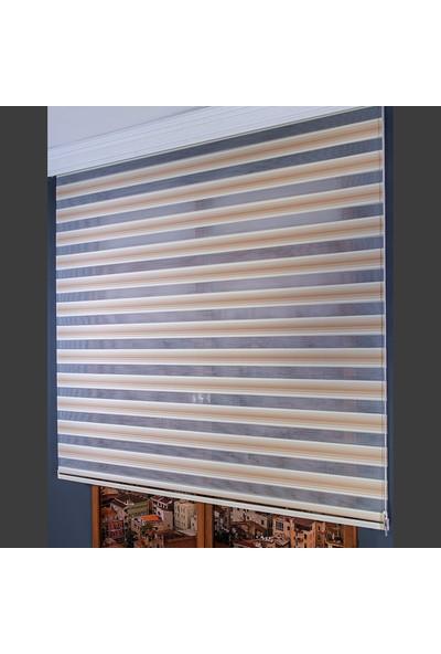 Anıper Zebra Perde Krem Kahve Renk Geçişli Plise 70 x 200 cm