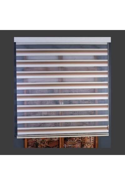 Anıper Zebra Perde Kırık Beyaz Kahve Taba Renk Geçişli Micro Plise 70 x 200 cm