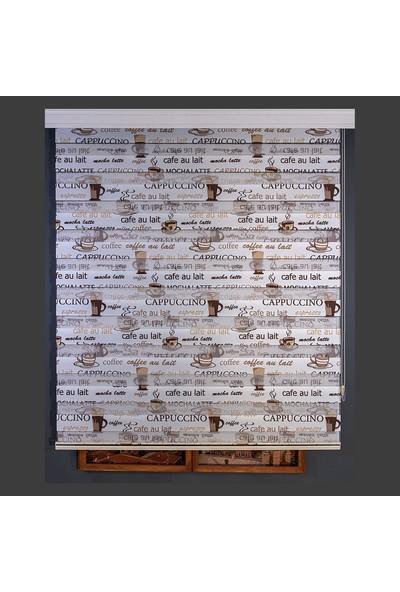 Anıper Zebra Perde Dijital Baskılı Krem Kahve Cappuccino Desen 70 x 200 cm