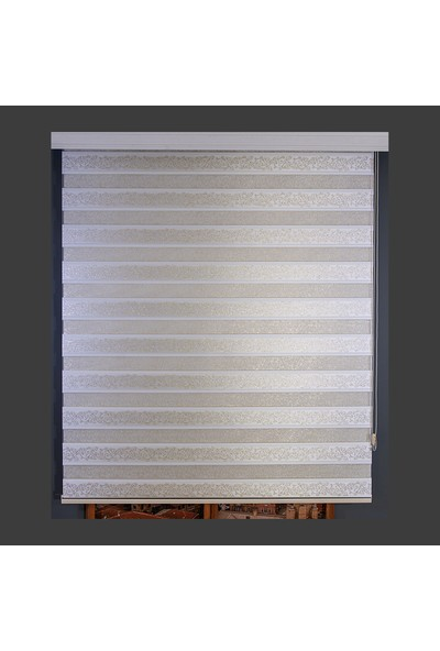 Anıper Zebra Perde Beyaz Gold Simli Şal Desen 70 x 200 cm