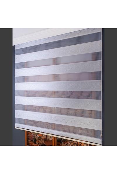 Anıper Zebra Perde Beyaz Gümüş Simli Letafet Desen 70 x 200 cm