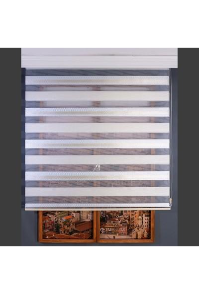 Anıper Zebra Perde Kırık Beyaz Krem Nokta Simli Puantiye Desen 70 x 200 cm